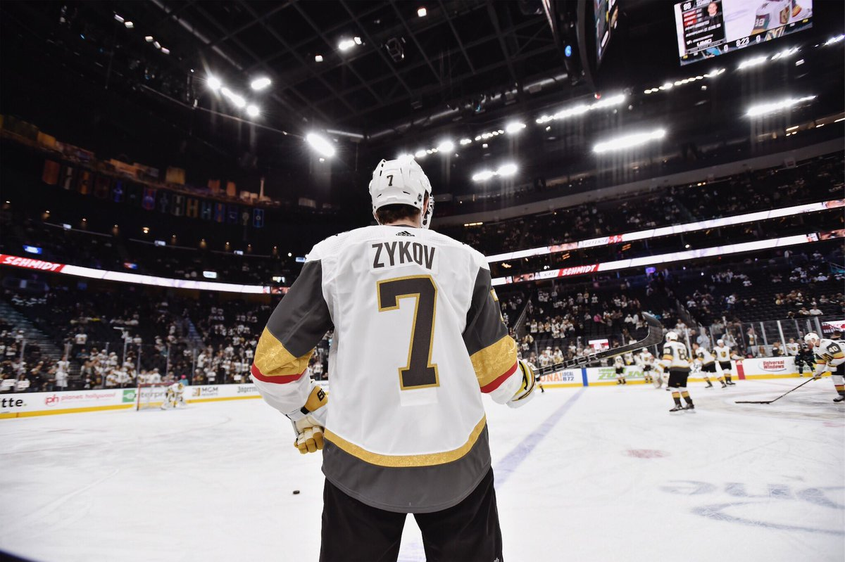 Golden Knights winger Valentin Zykov stands ready to warm up during an away game