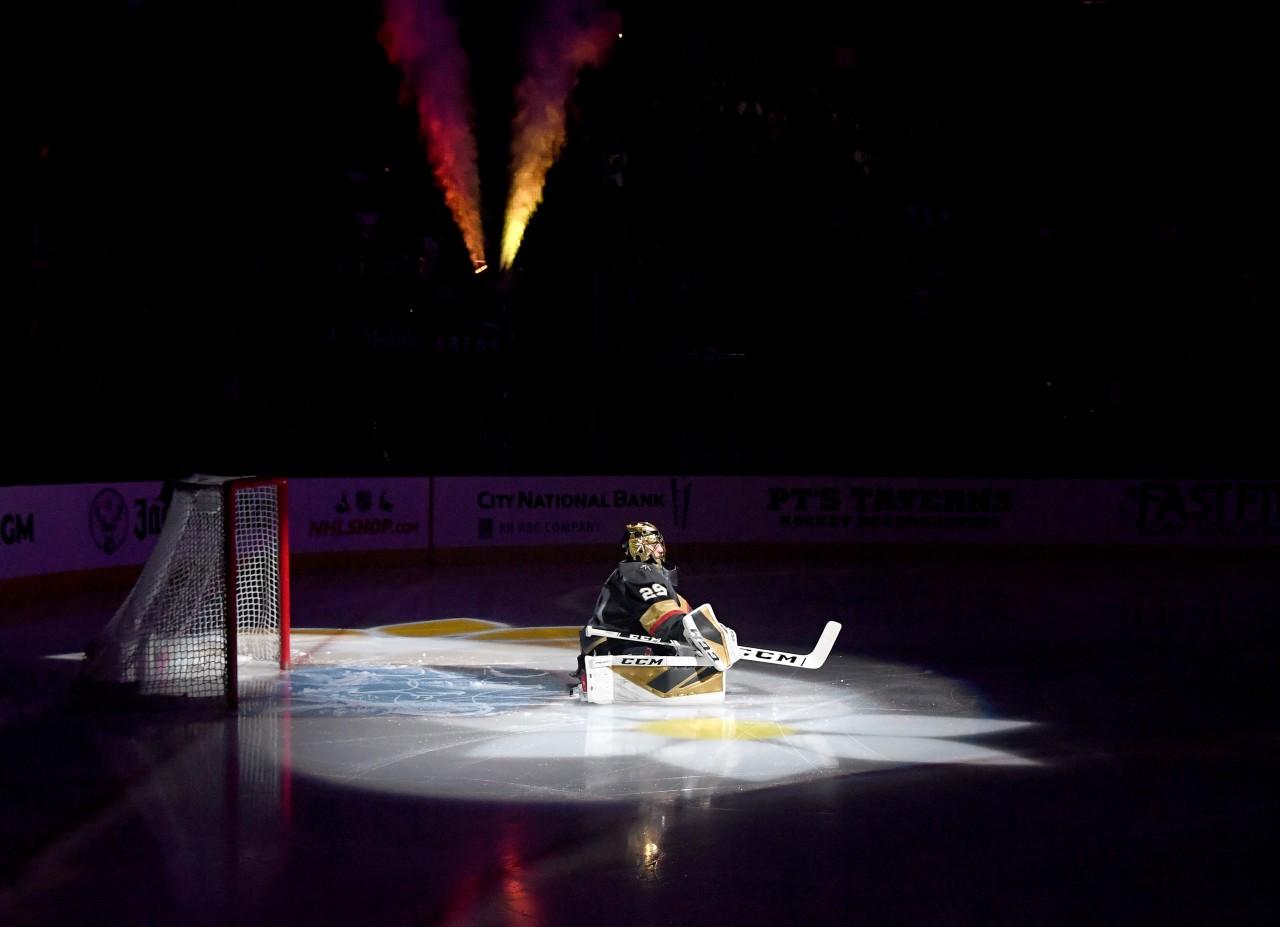 Vegas Golden Knights starting goaltender Marc-Andre Fleury prepares himself in net on home ice against the Chicago Blackhawks