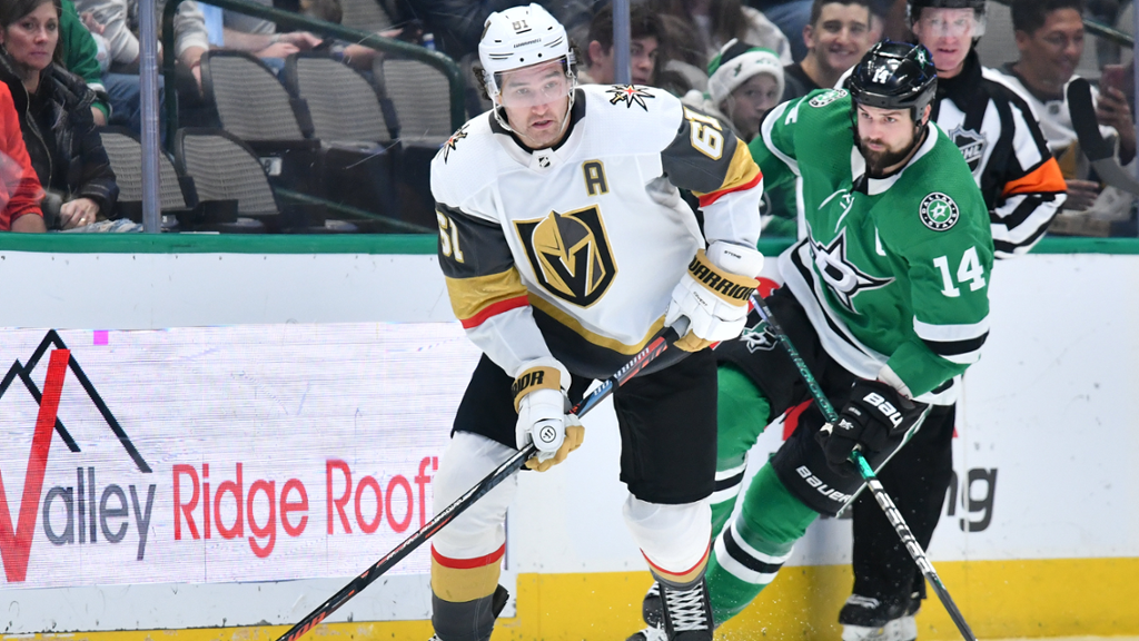 Mark Stone for the Vegas Golden Knights skates away from a Dallas Stars player